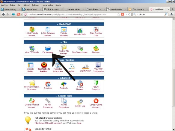 Menu 000webhost.com