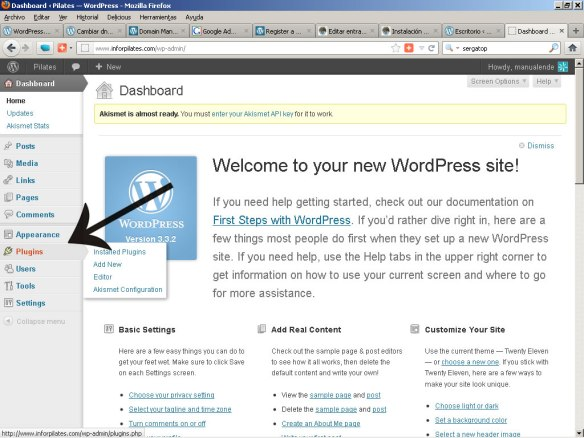 Menu plugins de WordPress